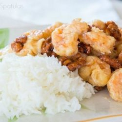 A plate of Honey Walnut Shrimp with Rice