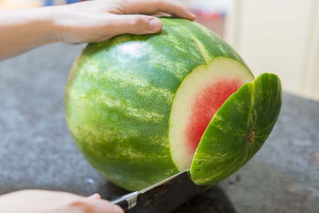 Cutting End off Watermelon - How to Cut Watermelon