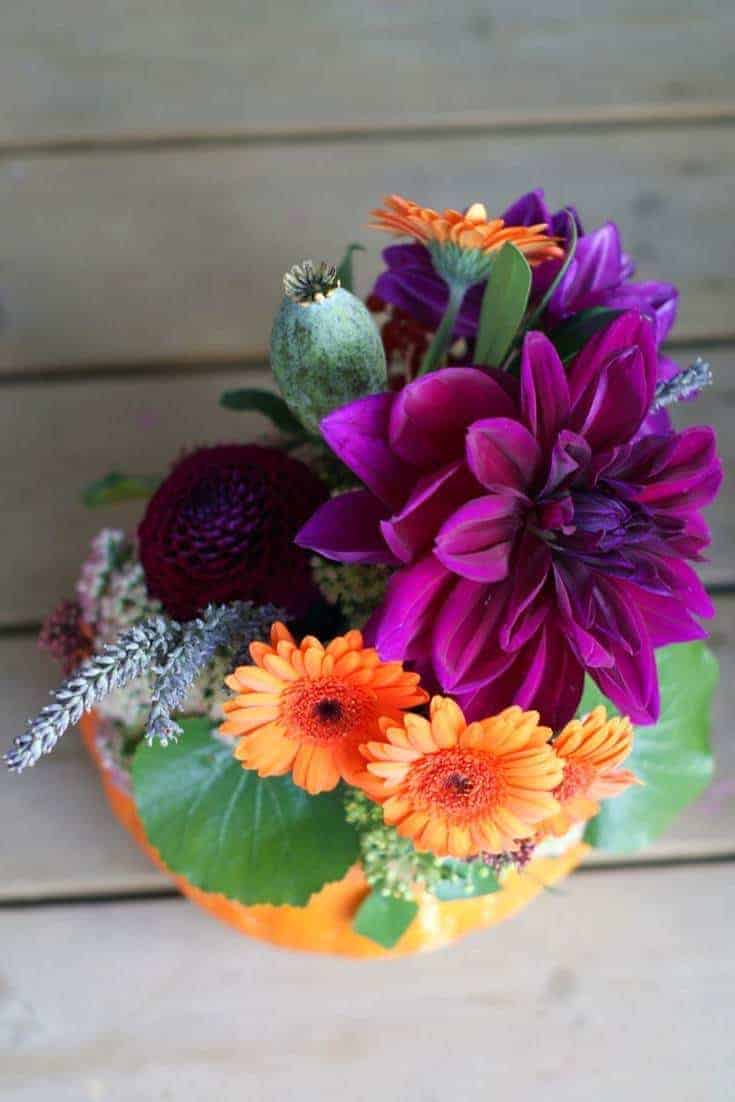 how to make an autumn halloween flower pumpkin decoration: how to arrange stunning autumn flowers with Sussex Flower School. Click through for inspiring autumn flower arrangement ideas you